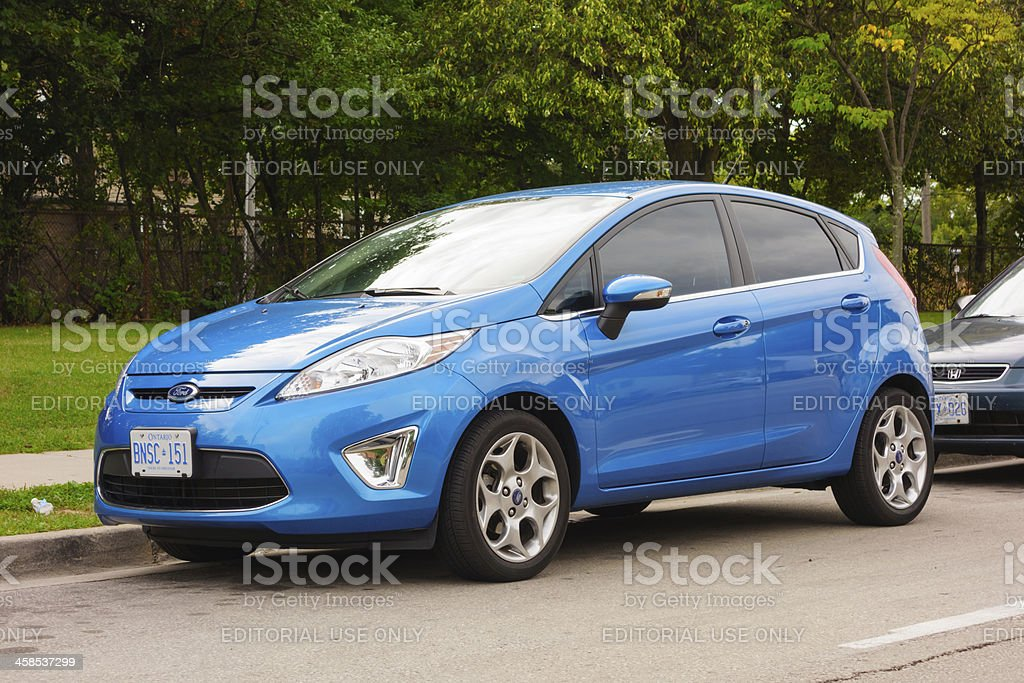 Blue Ford Fiesta stock photo