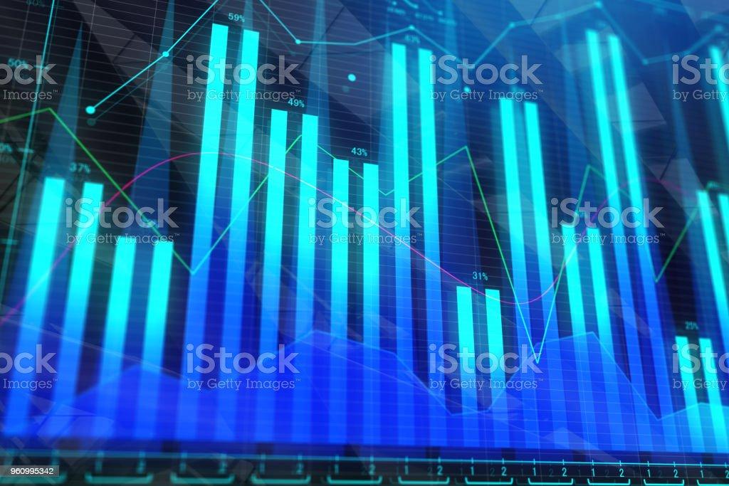 Blaue Forex Hintergrund - Lizenzfrei Analysieren Stock-Foto