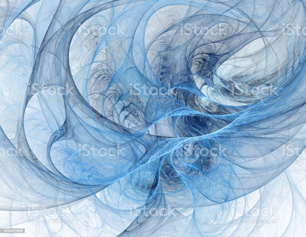 Blue fractal tunnel stock photo