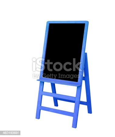 istock Blue frame black board is on white background 462493691