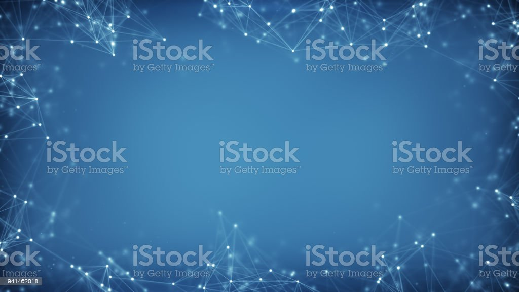 Blue frame of sci-fi network shape stock photo