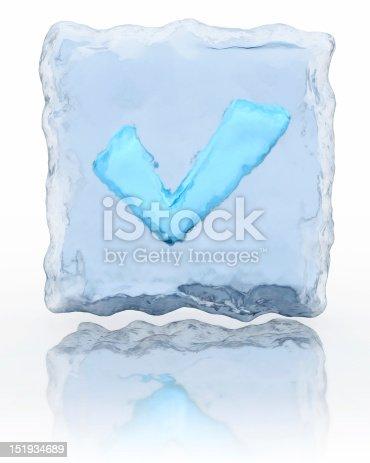 istock Blue frozen check mark 151934689