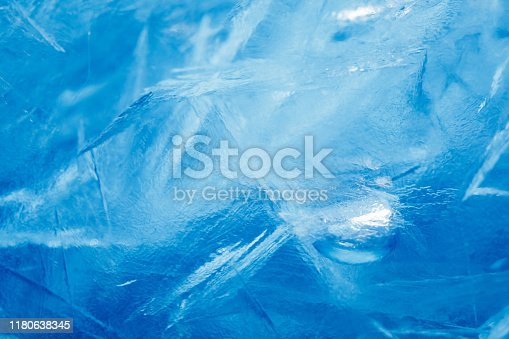 blue frozen texture of ice with copy-space