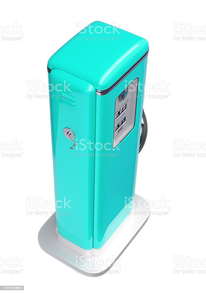 Blue fuel pump isolated over white royalty-free stock photo