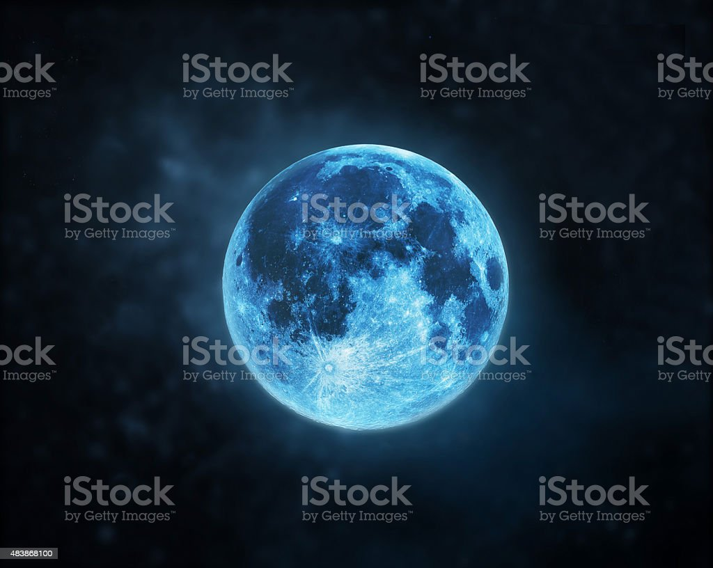 Blue full moon atmosphere at dark night sky background stock photo