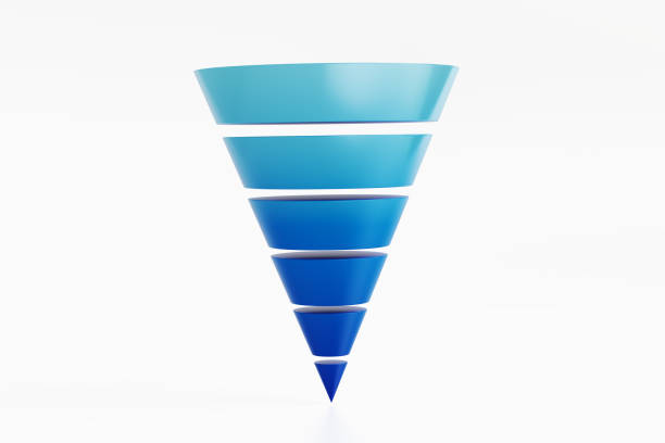 blue funnel diagram on white background - cheap stock pictures, royalty-free photos & images