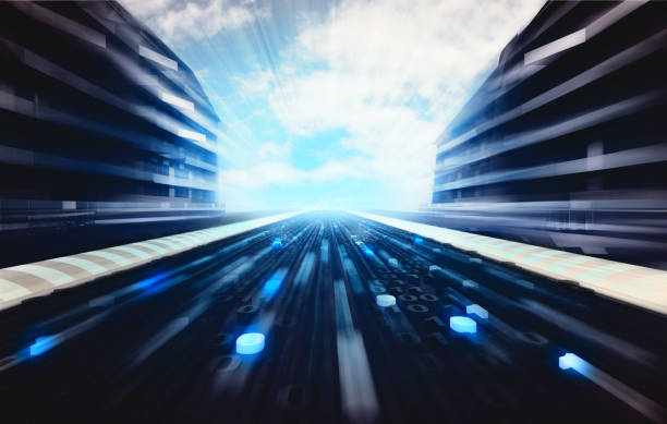 블루 초현대적 도시 거리, 이진법 로드쇼의 배경이미지 - formula 1 뉴스 사진 이미지