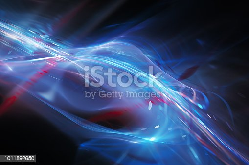 istock Blue futuristic glowing plasma flow 1011892650