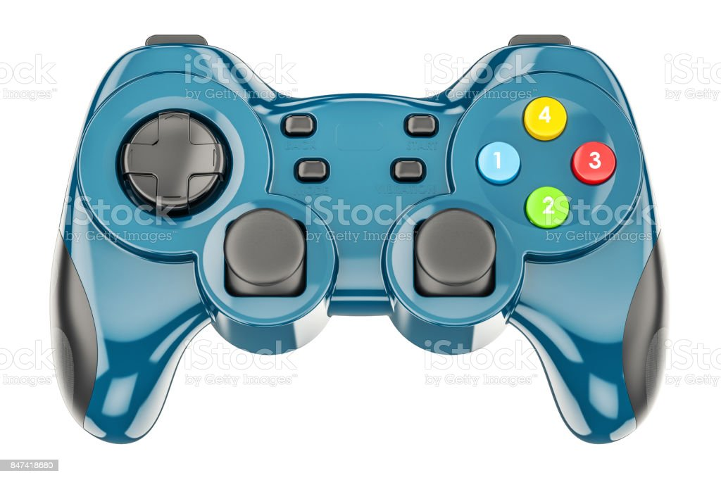 Blue game controller, 3D rendering isolated on white background stock photo