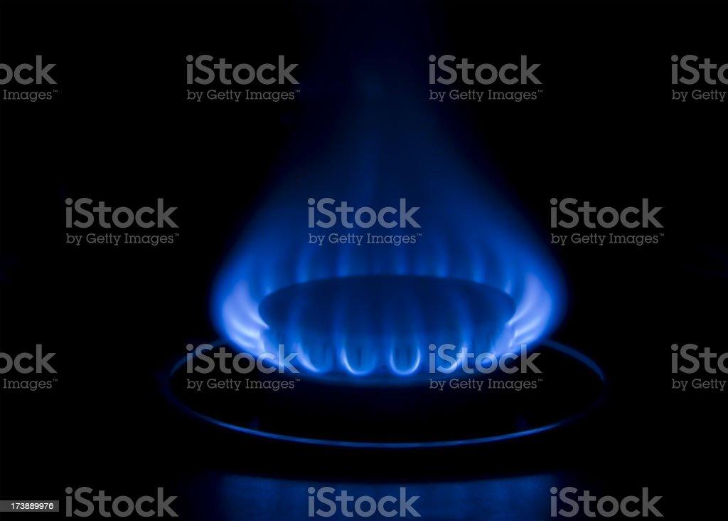 Blue Gas Burner Flame stock photo