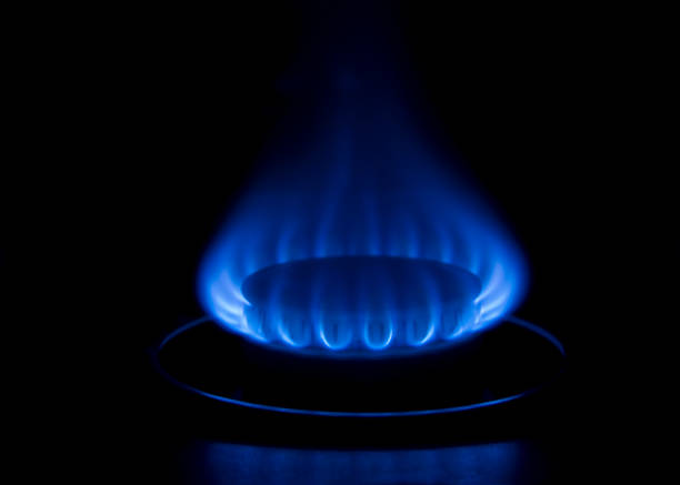 Blue Gas Burner Flame stock photo