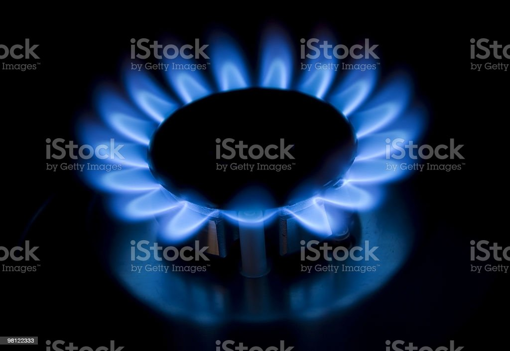 blue gas flames royalty-free stock photo