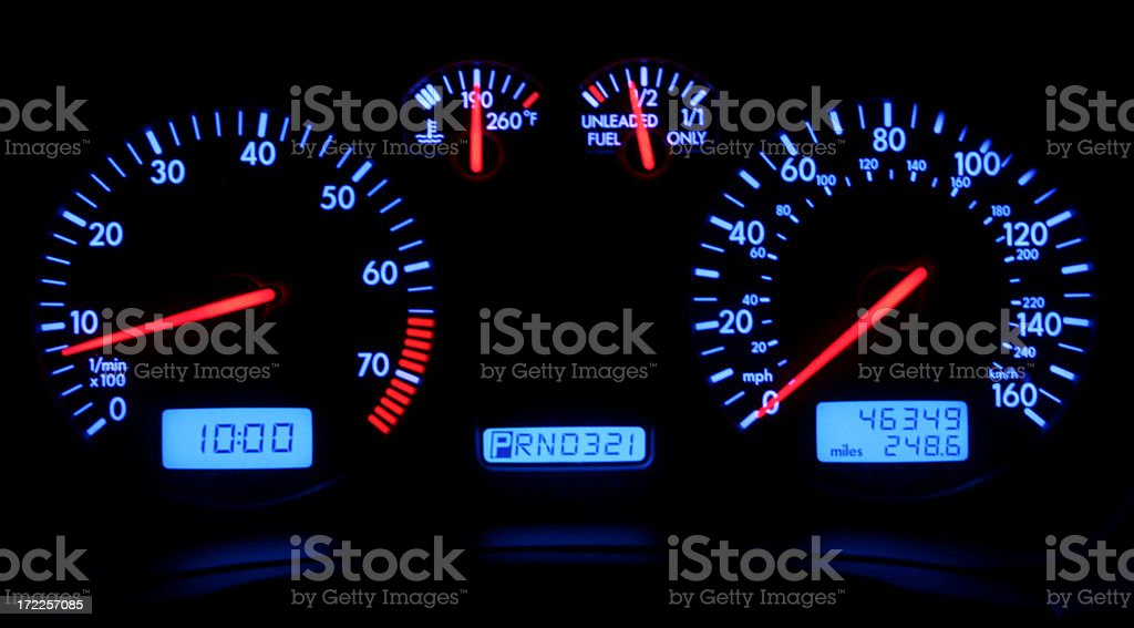 Blue Gauge Lights royalty-free stock photo