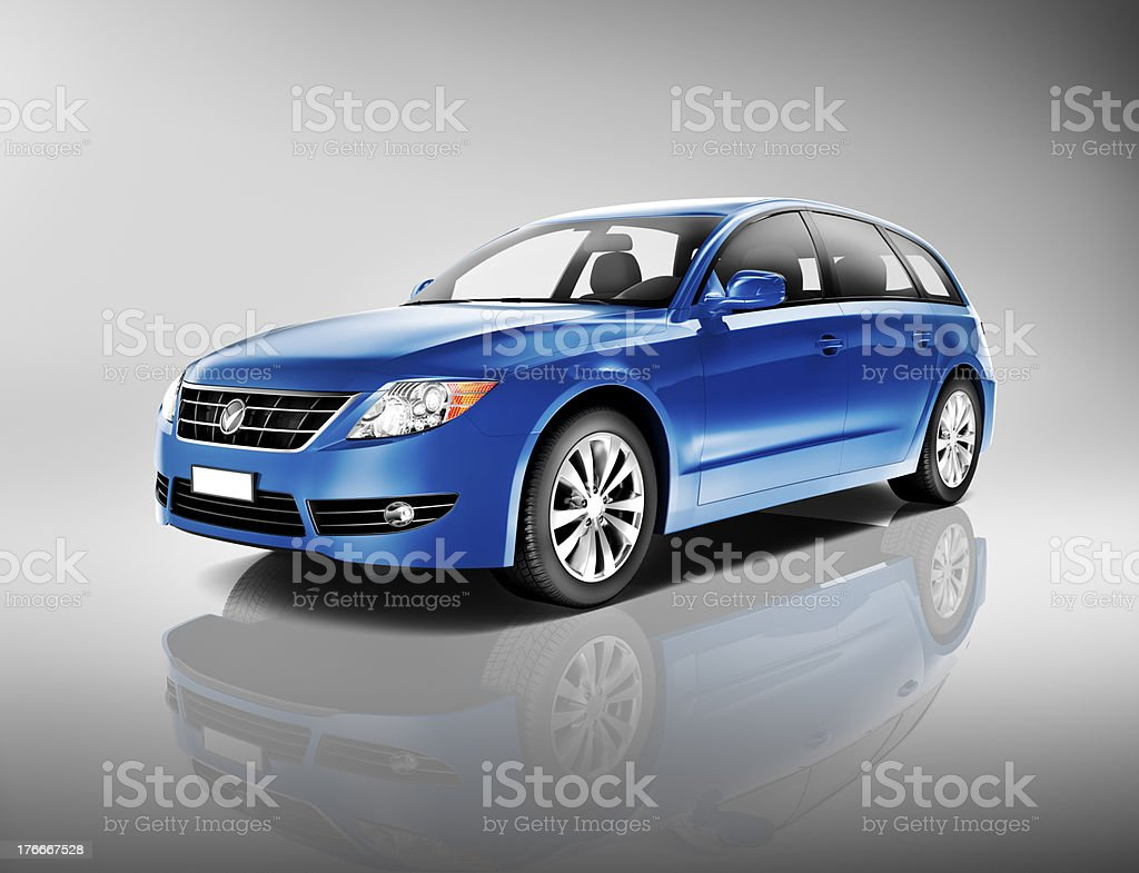 Blue Generic Car royalty-free stock photo