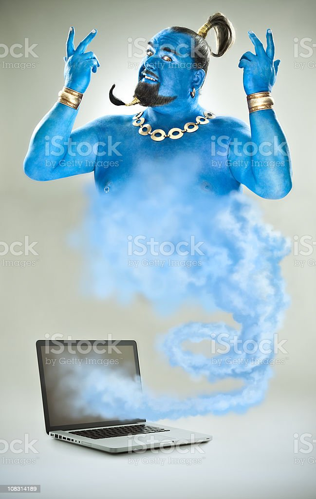 Blue genie goes out of laptop stock photo