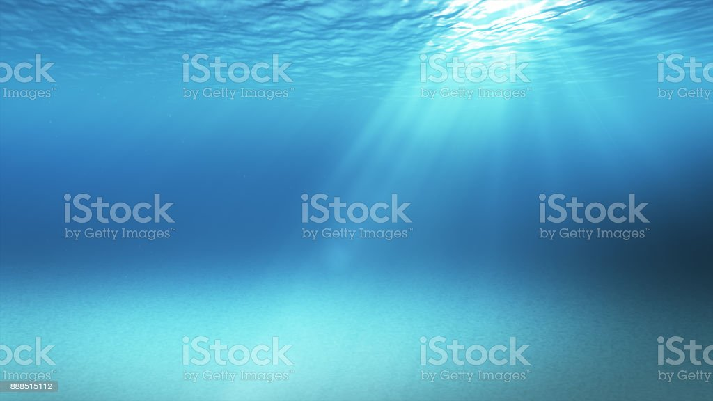 Blue gentle waves, slow motion looped ocean surface seen from underwater rays of sunlight shining through Great for backgrounds 3d illustration stock photo