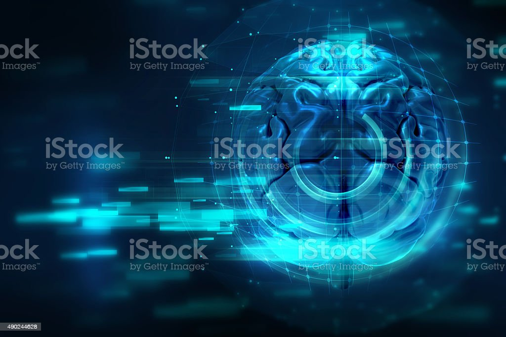 blue geometric circular brain shape abstract technology backgrou stock photo