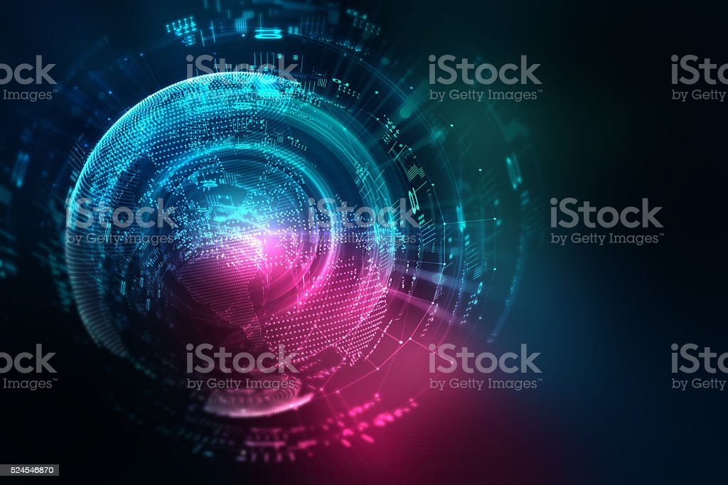 blue geometric circular shape abstract technology background stock photo