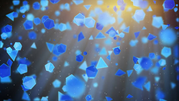 Blue geometric shapes flying in light rays. Abstract 3d render stock photo