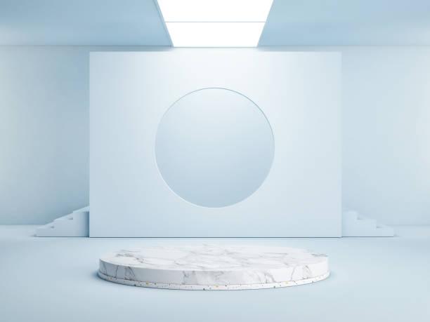 Blaue Geometrie Sieger Podium für Promotion – Foto