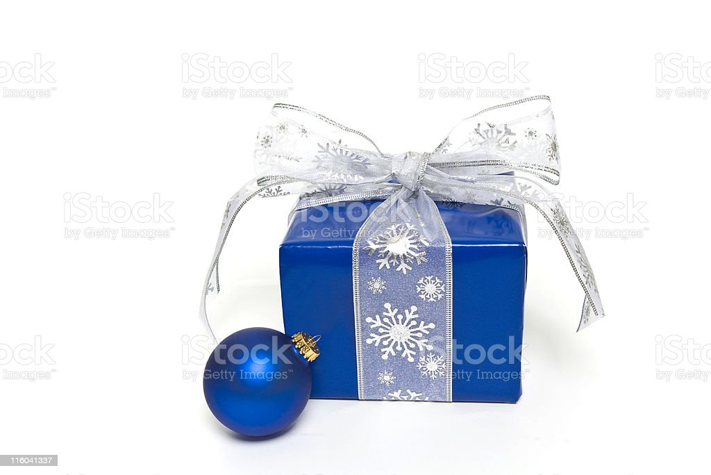 Blue Gift and Ornament royalty-free stock photo