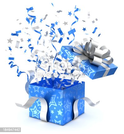 Opening blue gift box with confetti and ribbons. 3d render isolated on a white background.Vector clipping path is embedded in the jpeg.