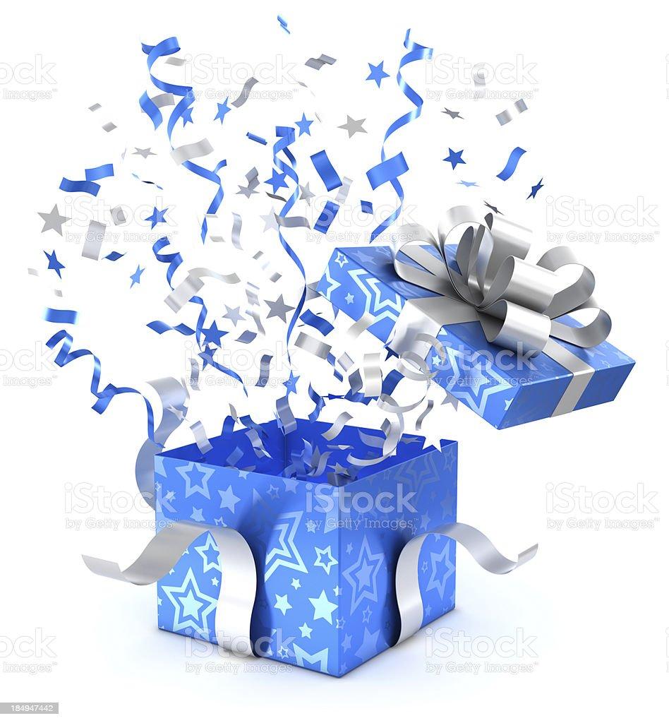 Blue gift box und Konfetti Mit clipping path – Foto