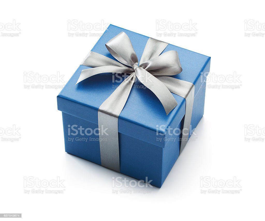 Blue Gift Box Isolated on White stock photo