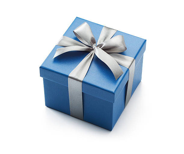 blue gift box isolated on white - birthday gift stock photos and pictures