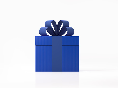Realistic 3D render of a blue gift box tied with blue ribbon.  Gift box is isolated on white background. Clipping path for gift box and ribbon is included. Side view. Horizontal composition with copy space.