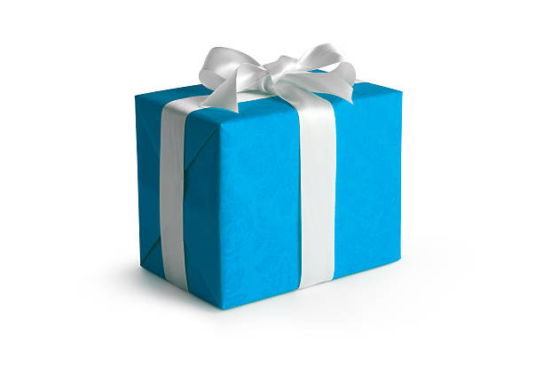 blue gift box w/clipping path - birthday gift stock photos and pictures