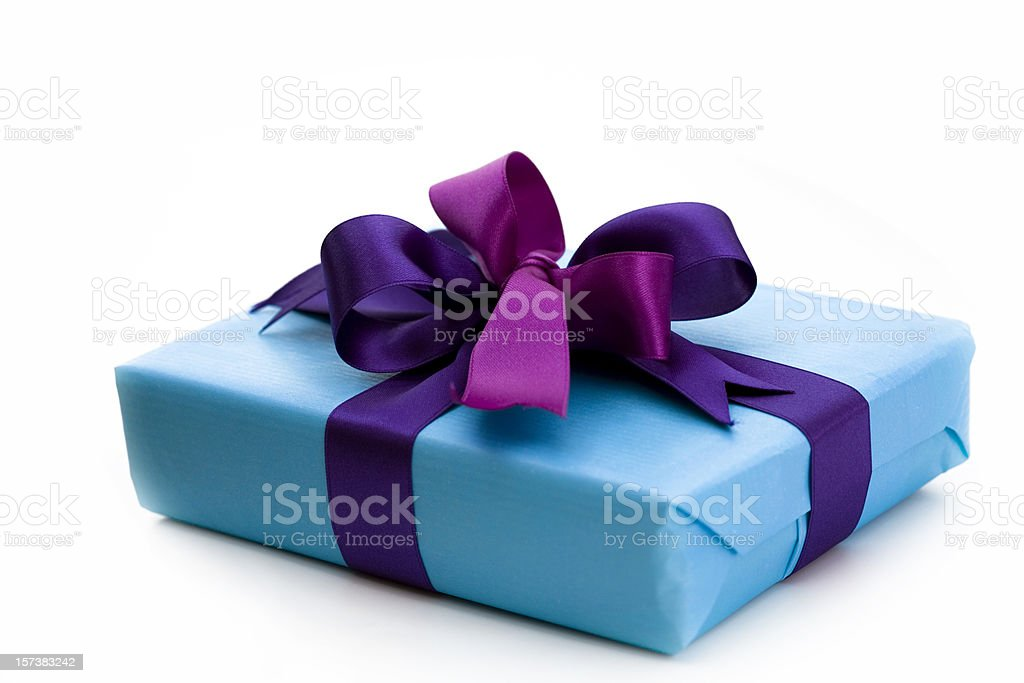 blue gift box with bow royalty-free stock photo
