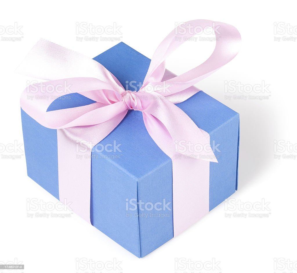 Blue gift box with pink ribbon royalty-free stock photo