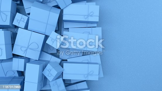 istock 3D Blue Gift Boxes with Blue Color Ribbon on Blue Background 1187312963