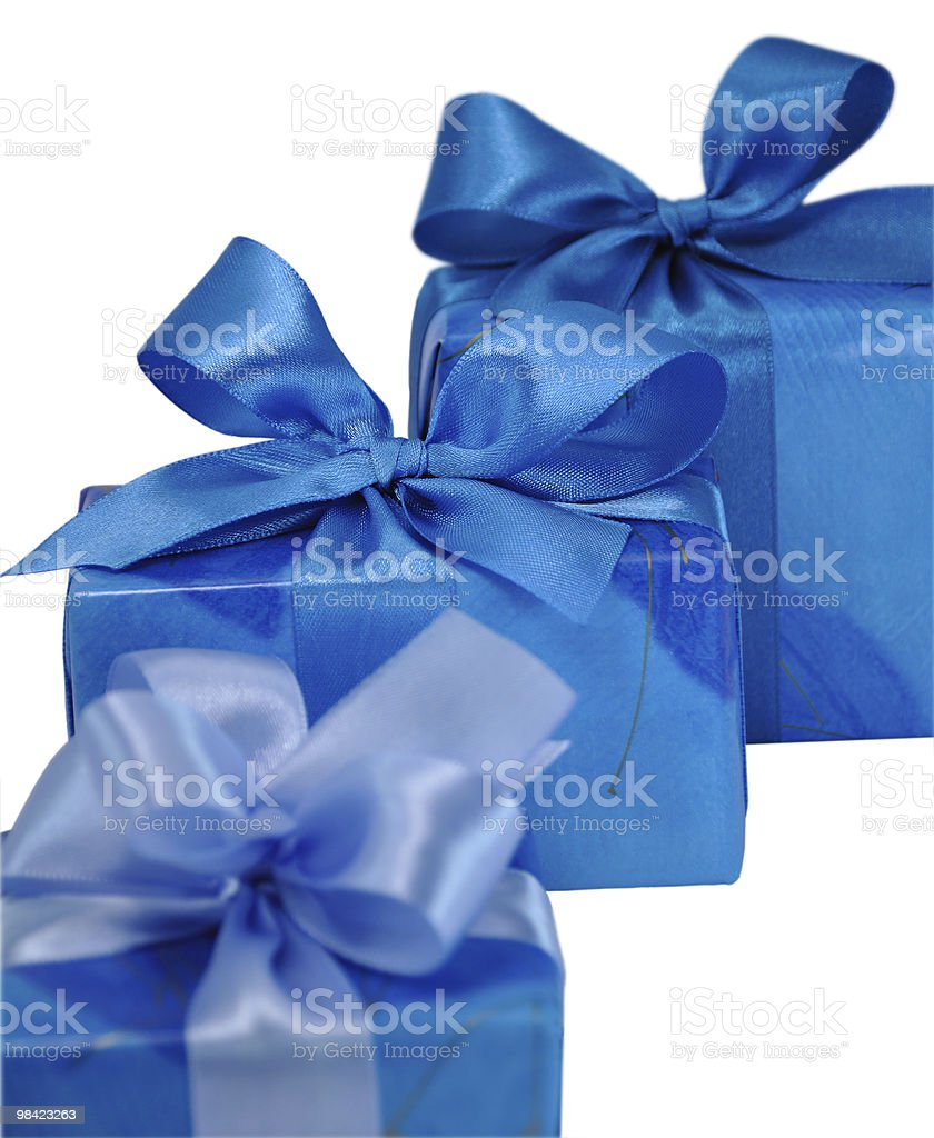 Blue Gift Boxes with Bows royalty-free stock photo