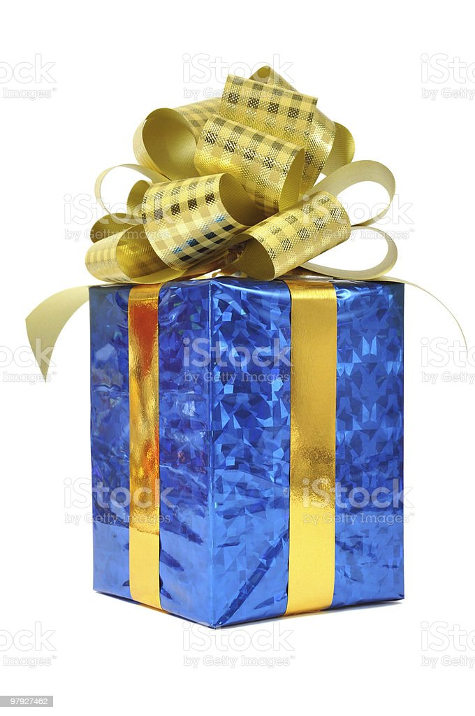 Blue gift over white royalty-free stock photo