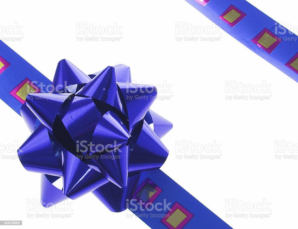 blue gift ribbon and bow royalty-free stock photo