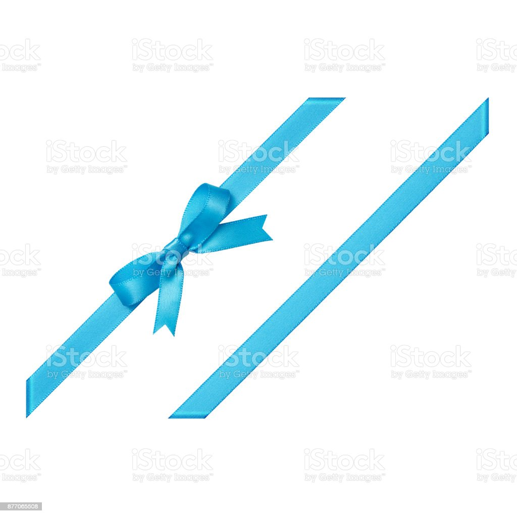 Blue gift ribbon tied in a bow on white background, cut out stock photo