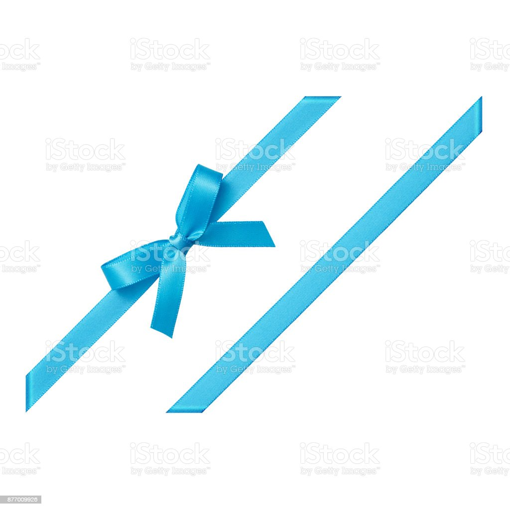 Blue gift ribbon tied in a bow on white background, cut out top view stock photo
