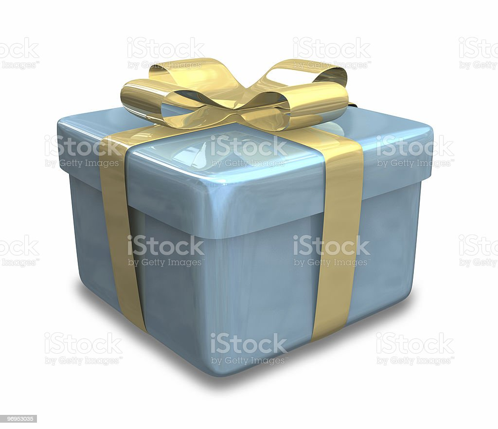 blue gift with yellow gold wrap (3D) royalty-free stock photo