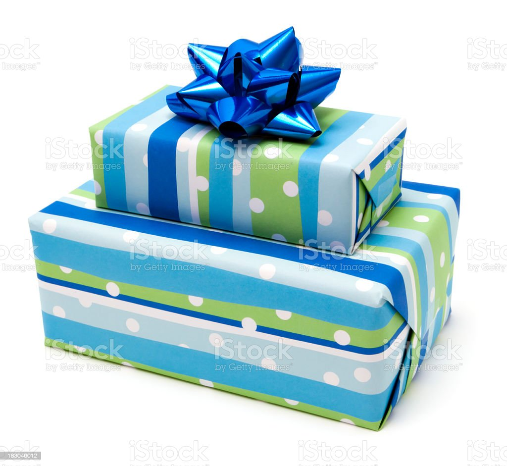 Blue gifts on white background stock photo
