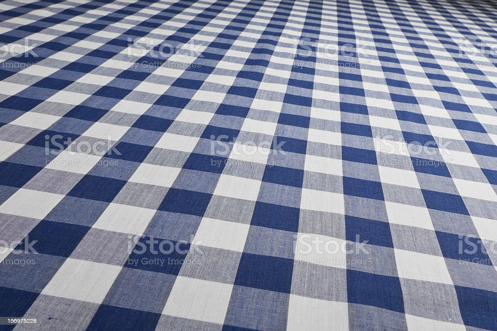 Blue Gingham Checked Table Cloth stock photo