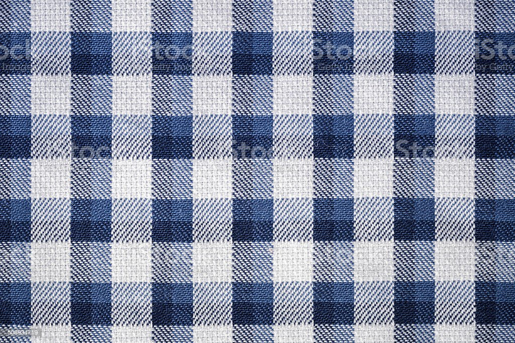 blue gingham cloth closeup stock photo