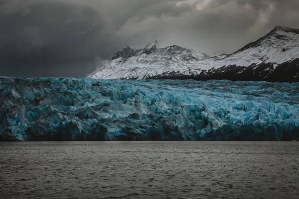 Blue Glacier Ice at Grey Glacier Patagonia Chile in Torres del Paine stock photo