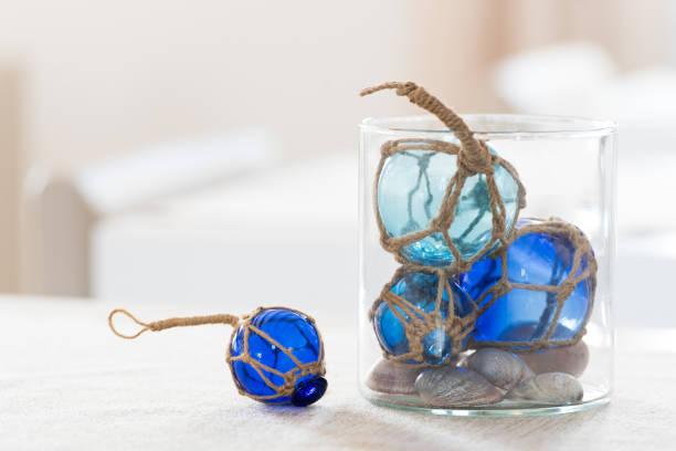Blue glass balls decoration stock photo