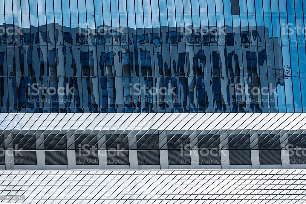 Blue Glass Building Reflection stock photo