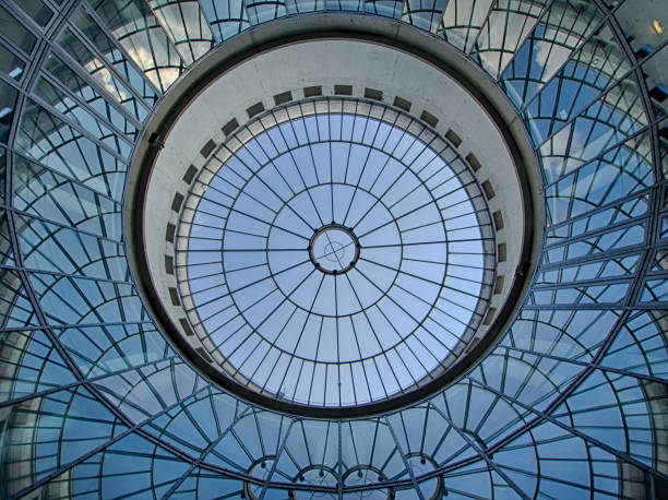 blue glass ceiling stock photo