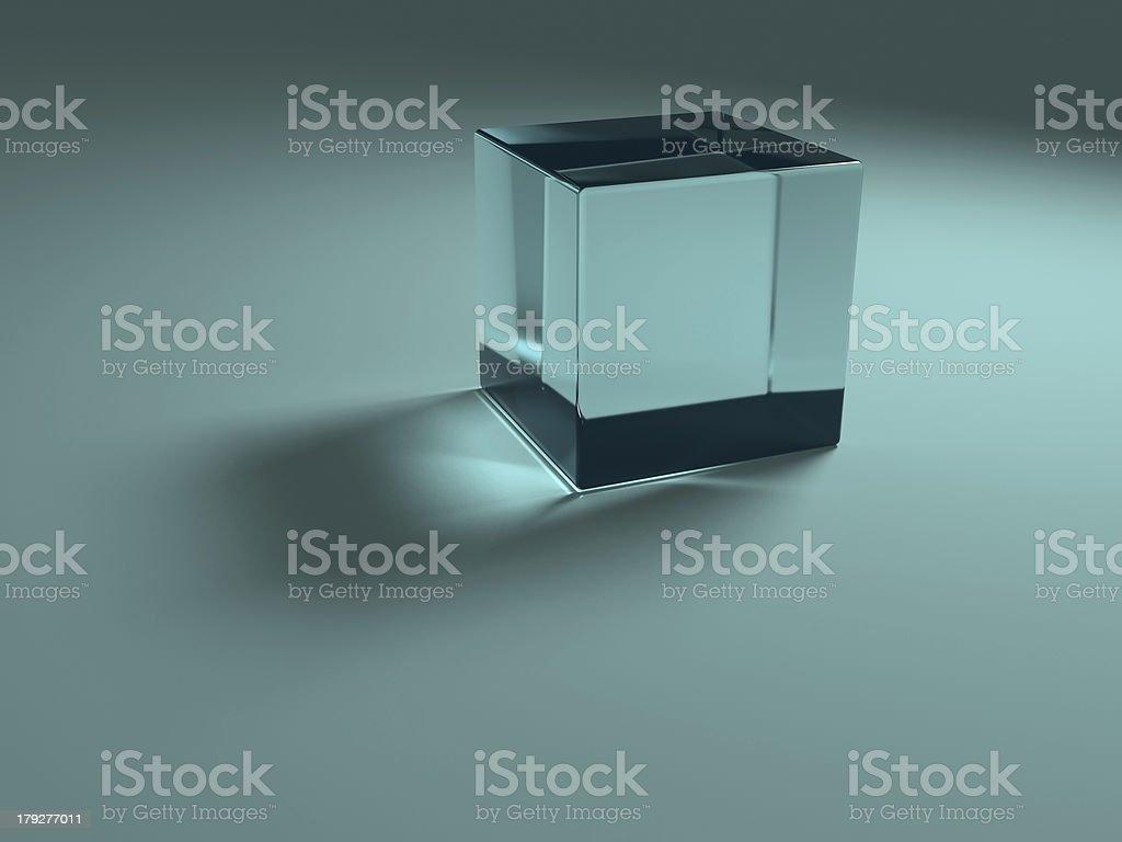 Blue glass cube stock photo