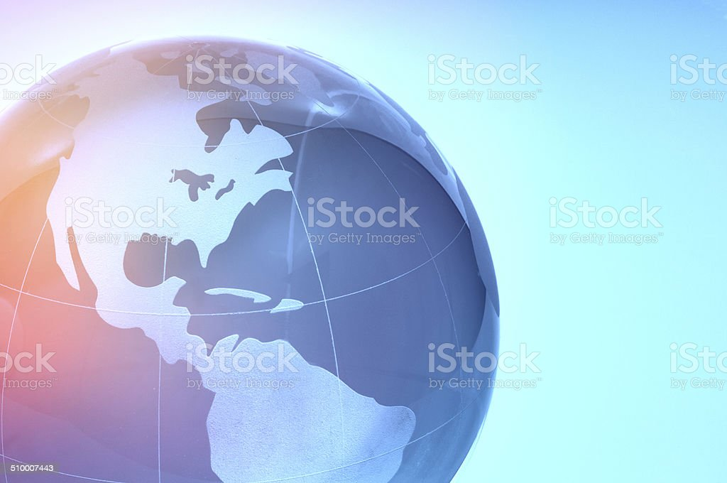 Blue glass globe stock photo