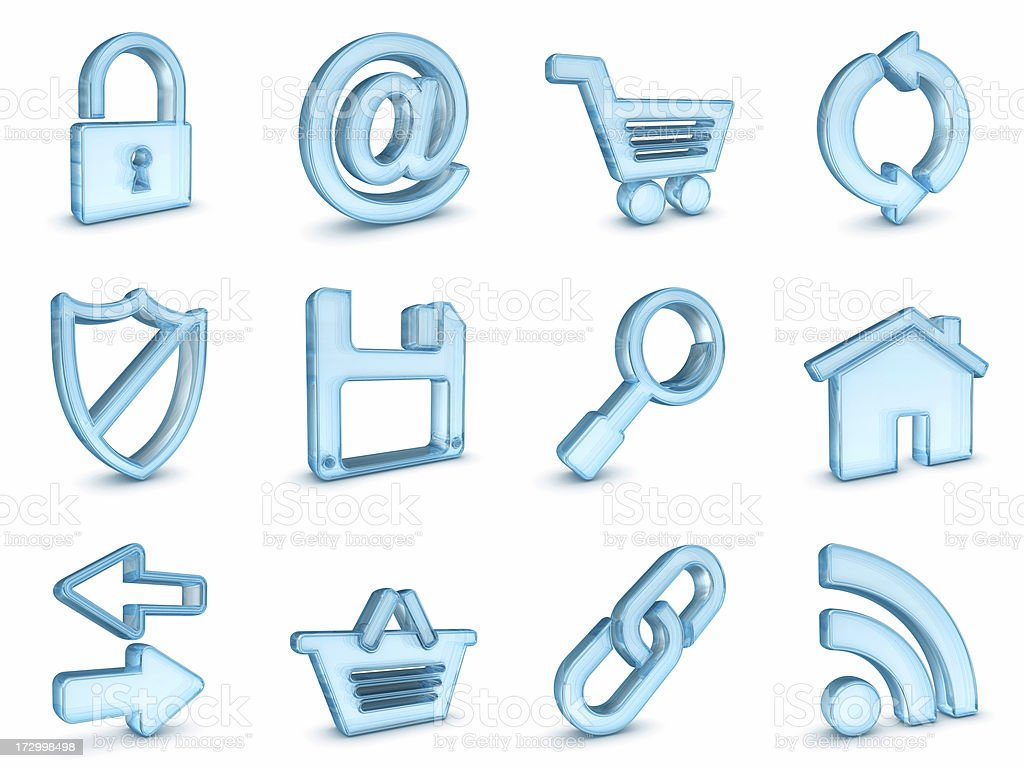 blue glass internet icons royalty-free stock photo